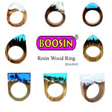 Moda Jóias de Ouro de Prata Casamento Secret Wood Men's Finger Ring