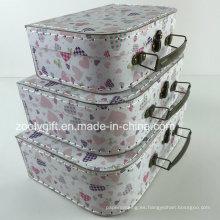 Custom costura de papel de cartón caja de regalo de la maleta de almacenamiento de cajas de embalaje