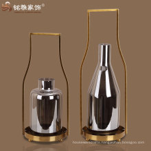 iron handle round glass candle holder with metal base