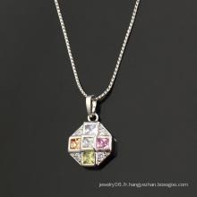 Mode élégant rond CZ cristal chaud-vente rhodium imitation pendentif bijoux -30464