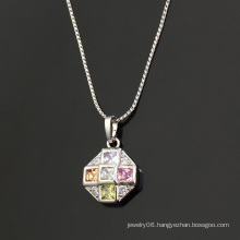 Fashion Elegant Round CZ Crystal Hot -Selling Rhodium Imitation Jewelry Pendant Necklace -30464