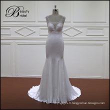 Doux Satin robe de mariée avec traine