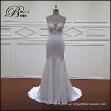 Vestido de noiva cetim macio com trem
