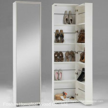 White Wooden Shoe Storage Cabinet with Mirror (HF-EY08193)