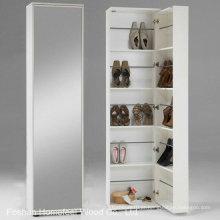 Gabinete de armazenamento de sapato de madeira branco com espelho (HF-EY08193)