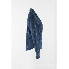 3/4-Ärmel-Pyjama mit Damen-Printkragen