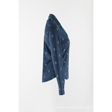 3/4 Sleeve Ladies print collar pajamas