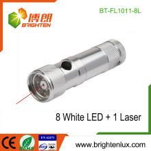 Fuente de fábrica 3 * AAA batería seca Funcionalidad multifuncional 2 en 1 aluminio 8 led linterna láser