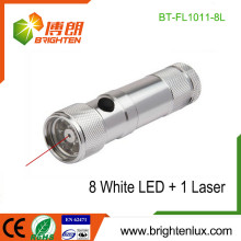 Factory Supply 3 * AAA Dry Battery Powered Multi-fonctionnel 2 en 1 Aluminium 8 led Laser Flashlight