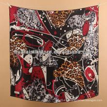 Lenço de seda turco mulheres vermelho leopardo marca de moda lenço de seda turco