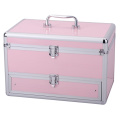 Beautiful Pink Aluminum Travel Cosmetics Case with Drawer