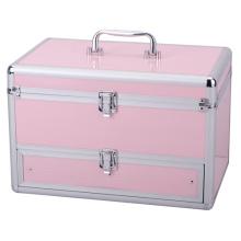 Hermosa rosa de viaje de aluminio cosméticos caso con cajón
