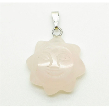 Sun Shape Rose Quartz pendant