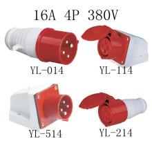 16А 380В CEE промышленные вилки и розетки