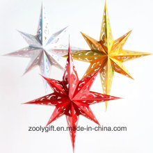 Laser Card Paper Set of Hanging Star Party Décoration / Hang Paper Holiday Christmas Octagonal Star Lanterns