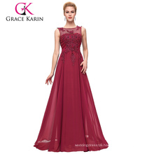 Grace Karin Plus Size Sleeveless V-Back Wine Red Chiffon Evening dress for Fat Women CL007555-5