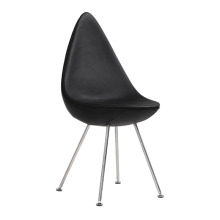 Arne Jacobsen Lederen eetkamerstoel Drop Chair reproductie