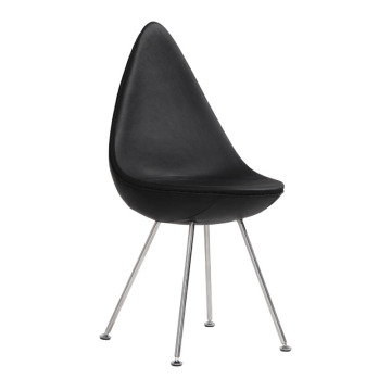 Läder Arne Jacobsen Drop Chair för Fritz Hansen