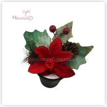 Décoration florale de Noël de 15cm X'mas