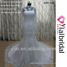 RSW106 Encaje vestido de boda sirena con cuello alto