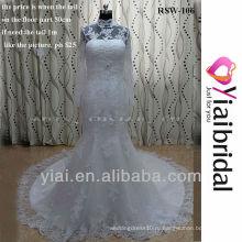 RSW106 кружева Русалка свадебное платье с высоким горлом