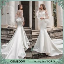 Novas senhoras de moda bege mermiad sillusion neckline wemen fantasia vestido de noiva