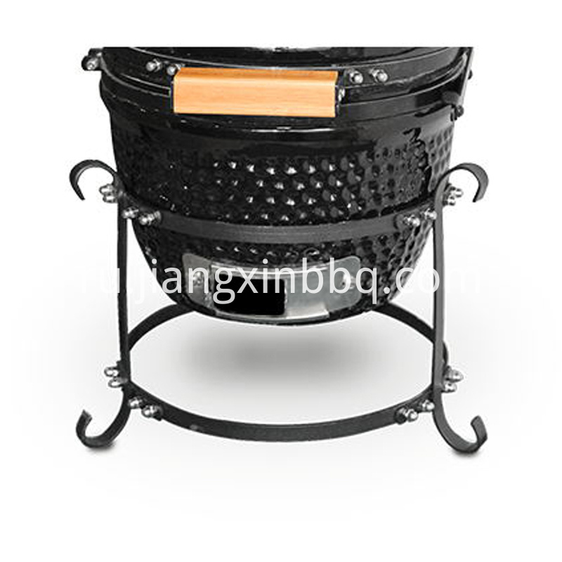 12 Inch Round Grill Kamado Black With Iron Base