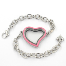 Heart Floating Glass Charms Locket Bangle Bracelets with Chain