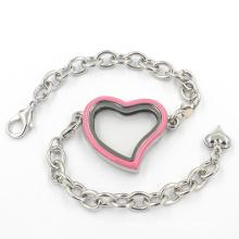 Coração encantos de vidro flutuante bracelete pulseiras com cadeia