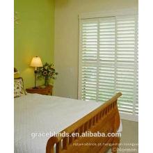 persianas de plantação de porta branca com haste de inclinação escondida, persianas de quarto