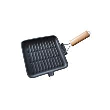Frigideira de ferro fundido quadrado / grelha com alça de madeira dobrável