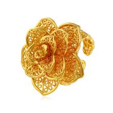 Xuping élégant en forme de fleur 24k anneau plaqué or avec motif exquis
