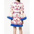 Ajuste borla multicolor de gran tamaño acampanado de manga larga de verano Mini vestido de la fabricación al por mayor de prendas de vestir de las mujeres de moda (TA0008D)