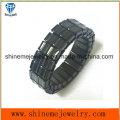 Shineme cuerpo joyería de alta calidad de moda negro plateado anillo (SSR2739)