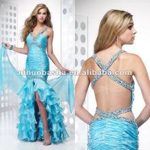 Двойной плечо V-образным вырезом аппликации бисероплетение и плиссированные разделительная вечернее платье
