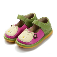 Green Baby Girl Cat Squeaky Shoes Handmade Soft