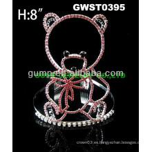 Corona de la tiara del rhinestone del oso barato - GWST0395