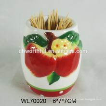 Decorativos cerâmica maçã toothpick titular