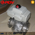 Electric stainless steel 3 way flange end ball valve