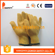 Guantes pesados amarillos con patrón de peine de miel de PVC (DKP203)