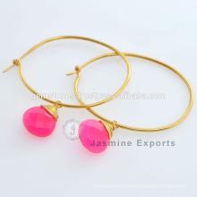 Boucles d'oreilles en pierres précieuses en argent sterling réplique King And Queen Hot Pink