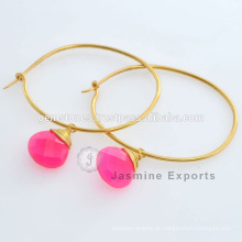 Designer King And Queen Hot Pink Chalcedonia Prata Gemstone Engagement Earring