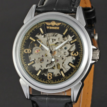 alloy bezel with black skeleton dial winner round mechanical watch