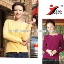 Elegante Damen gelb Cashmere Pullover Pullover