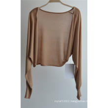Ladies Long Sleeve Opean Pure Color Knit Cardigan