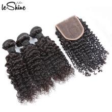 Vente chaude Vierge Vierge Brésilienne 3 Bundles Bouclés Cheveux Avec Fermeture 9A 10A Bon Et Prix De Gros
