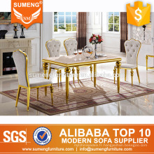 2017 nouveau modèle table à manger en marbre doré base en acier inoxydable conceptions