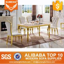 2017 новая модель, мраморный обеденный стол золотой нержавеющей стали базовые конструкции