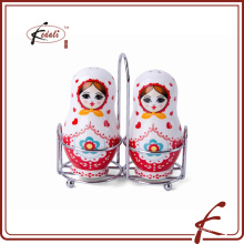 European doll design ceramic salt and pepper with rack