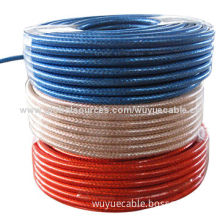 Satellite cable with clear PVC, two F connector, CCS conductor, CCA braids, copper foil